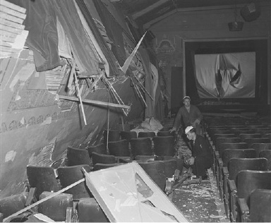 This is what the Port Chicago moving picture theater looked like after a terrific explosion at the Naval Ammunition Depot destroyed one ship and wrecked another and killed at least 300 persons shortly after 10 o