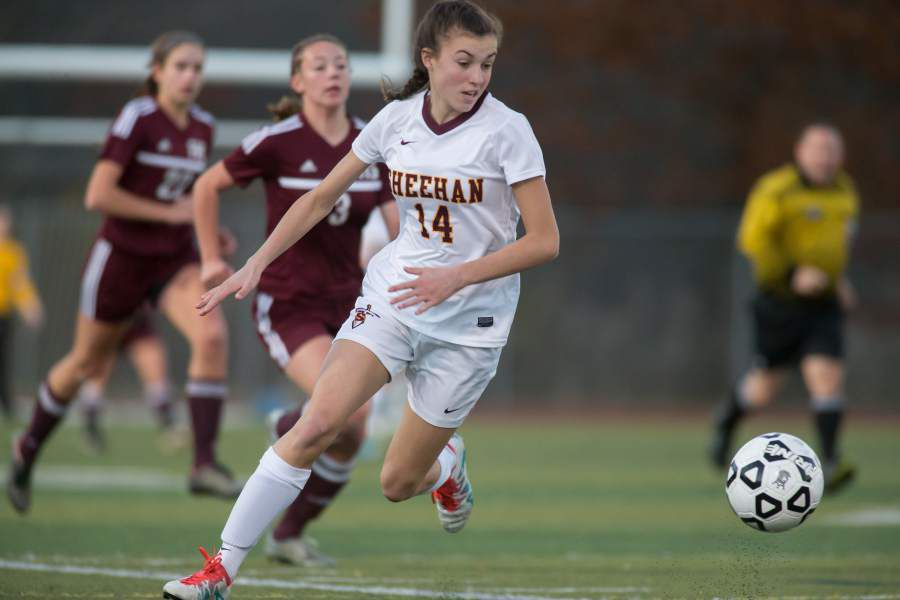 Olivia Dubuc had three goals on Friday to lead the Sheehan girls soccer team to a 5-0 win over Wilbur Cross | Justin Weekes / For the Record-Journal