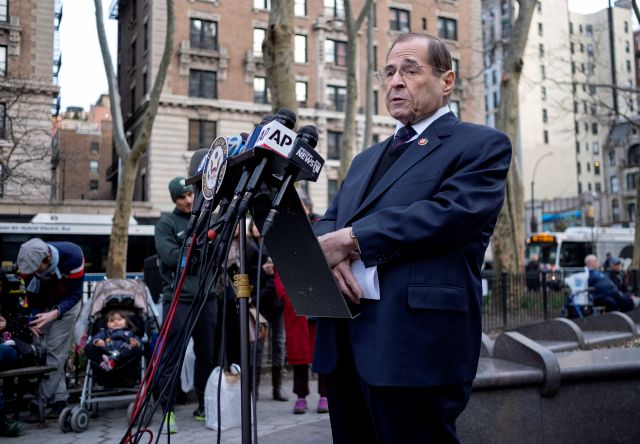 House Judiciary Committee Chairman Jerrold Nadler, D-N.Y, speaks during a news conference at a subway station in the Upper West Side neighborhood of New York Sunday, March 24, 2019, in the wake of Attorney General William Barr