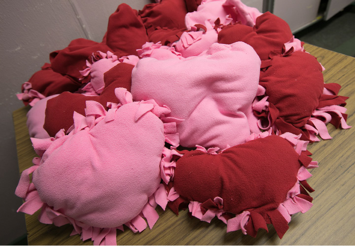 Heart pillows made by seniors at the Miller Memorial Community in Meriden, Wednesday, April 19, 2017. The pillows will be delivered to the Connecticut Children
