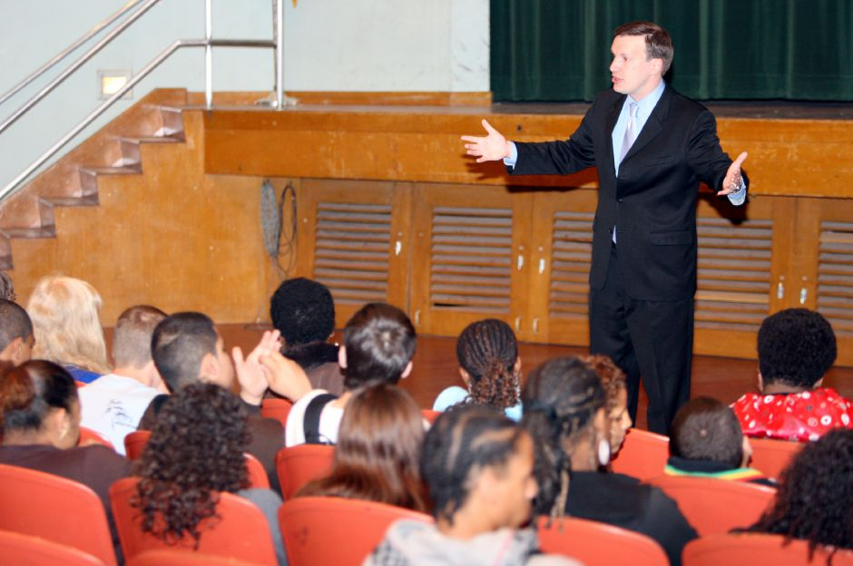 U.S. Representative Chris Murphy speaks to students at Maloney High School in Meriden, Monday morning, April 29, 2008. Murphy spoke about getting into politics at a young age and current issues. (Christopher Zajac/Record-Journal)