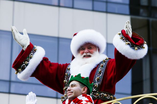 Santa Claus waves to the crowd during the 92nd annual Macy