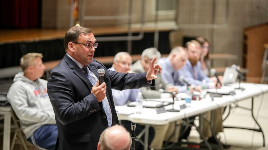 File photo: Berlin Superintendent of Schools Brian Benigni spoke at a public hearing held by the Board of Finance Monday, June 4 at McGee Middle School. After many residents voiced opposition to cuts to services and school programs, the board opted to increase school funding and not cut municipal spending. | Devin Leith-Yessian/Berlin Citizen