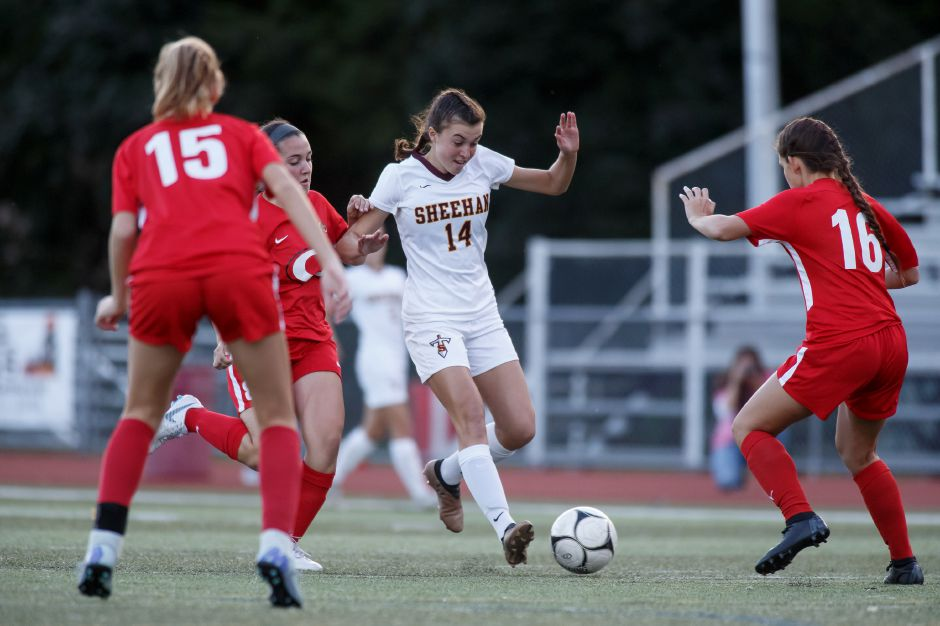 Olivia Dubuc scored three goals and assisted the other two in Sheehan's 5-2 SCC Housatonic girls soccer victory over Wilbur Cross on Friday at Riccitelli Field. | Justin Weekes / Special to the Record-Journal
