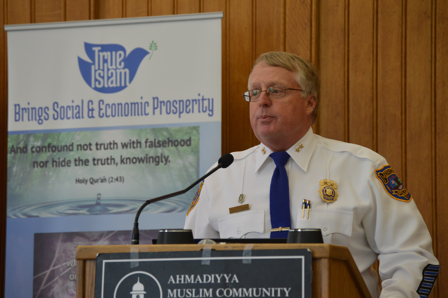 Meriden Police Chief Jeffry Cossette speaks Thursday during an event at the Capitol hosted by the Ahmadiyya Community of Connecticut. | Mike Savino, Record-Journal