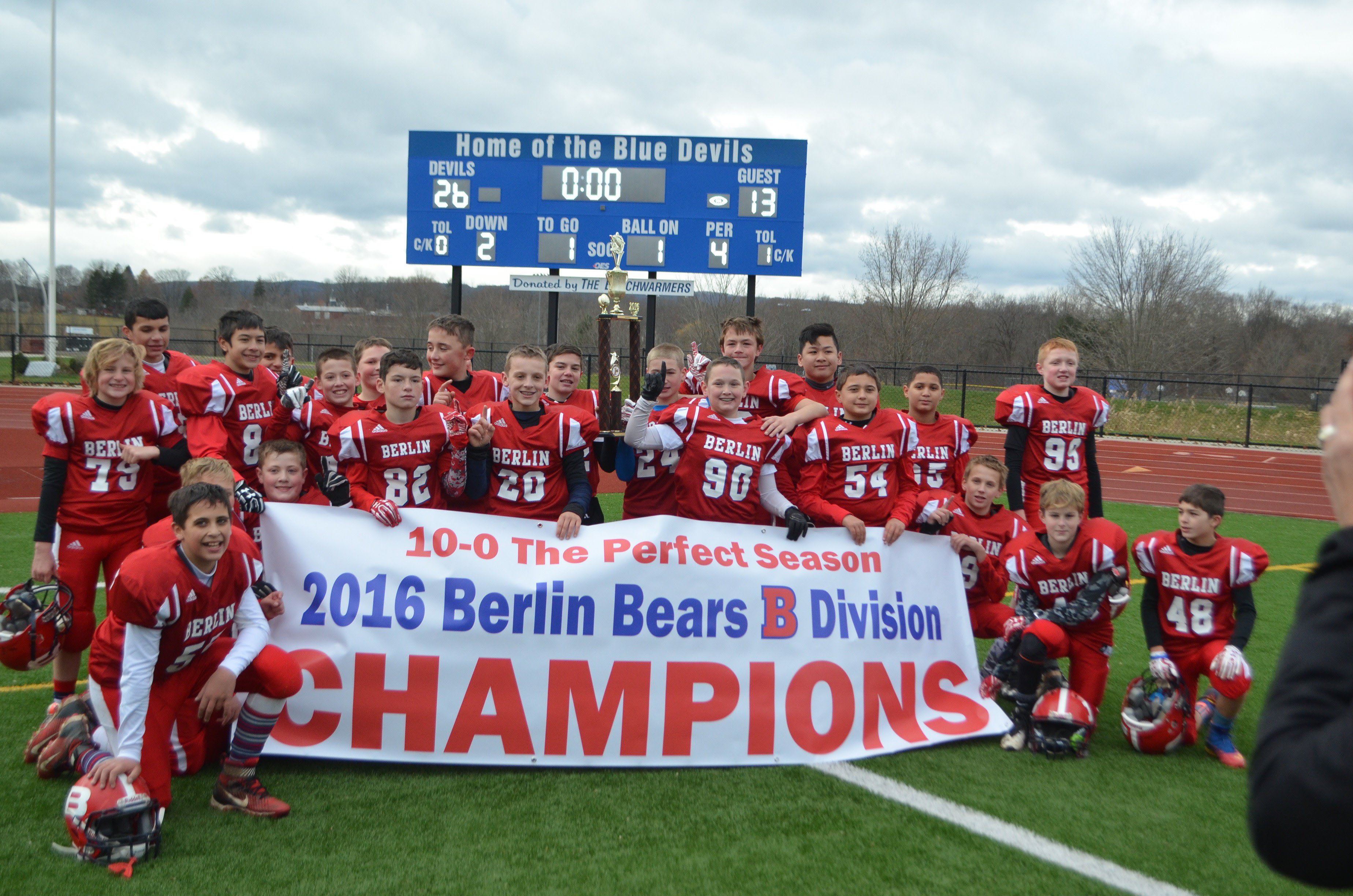 "The Berlin Bears ""B"" team; 2016 Connecticut Youth Football League champs."