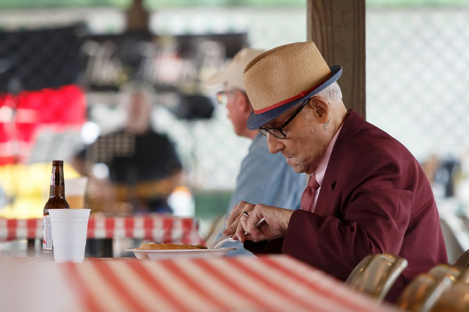 Al Larese 92 of Meriden enjoys a meal Saturday during Bierfest at the Meriden Turner Society in Meriden. The 152 year old Society celebrates German cultural, food, music and dancing.  August 11, 2018 | Justin Weekes / Special to the Record-Journal