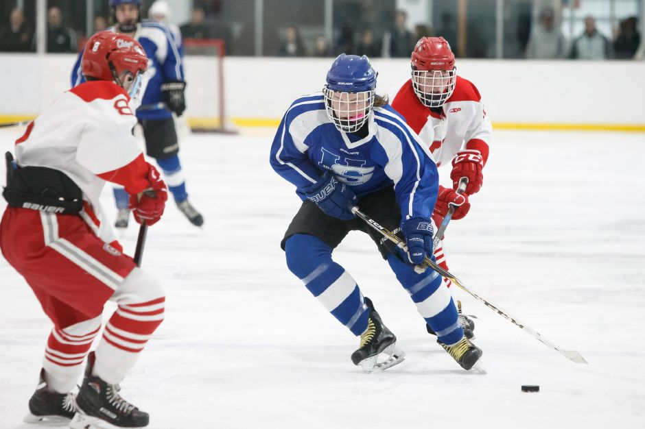 As the Hall-Southington hockey team suffers deep graduation losses, Nate Zmarlicki of Southington will be one of the returning players expected to carry a big load next season for the Warrior-Knights. | Justin Weekes / Special to the Record-Journal