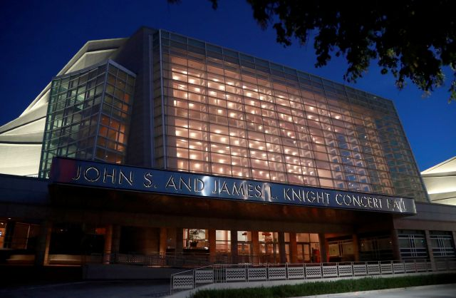 The Knight Concert Hall at the Adrienne Arsht Center for the Performing Arts of Miami-Dade County is shown, Friday, June 21, 2019, in Miami. The Democratic Presidential Debates are scheduled to take place June 26 and 27, with 10 candidates competing each night. (AP Photo/Wilfredo Lee)