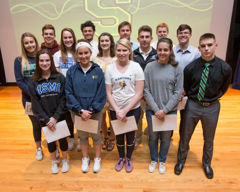 These are the Southington athletes heading to Division III and prep school programs who were formally honored Tuesday in a ceremony in the Southington High auditorium. In front, from left, are Ariana Gazaferi, Frankie Ferrante, Olivia Fournier, Nicole Carter and James Ringrose. In the middle, from left, are Samantha Barmore Janette Wadolowski, Carolyn Callahan, Brandon Kohl and Quintin Kimmel. In the back, from left, stand Brendon Egan, Ryan Montalvo, Jake Munson and Hayden Burbank. | Justin Weekes / Special to the Record-Journal