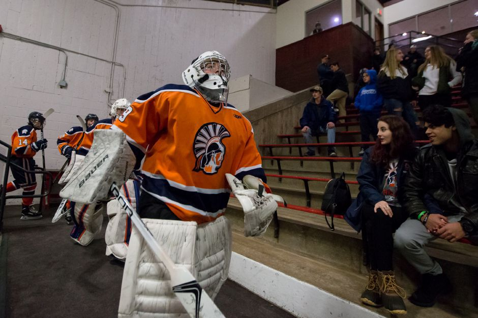 The Lyman Hall Co-op hockey team improved to 10-3 on Wednesday with an 11-6 victory over Daniel Hand. | Justin Weekes / Special to the Record-Journal