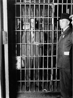 Bruno Richard Hauptmann, Lindbergh suspect is shown in his cell at police headquarters in New York,  Sept. 21, 1934. Hauptmann went through the usual morning lineup at headquarters, being finger-printed and photographed and was closely questioned. (AP Photo)
