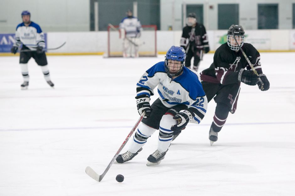 Southington senior Jake Albert is third in scoring for the Warrior-Knights with seven goals and 12 assists. Hall-Southington faces rival Conard at Veterans Memorial Rink on Saturday at 1 p.m. | Justin Weekes / Special to the Record-Journal