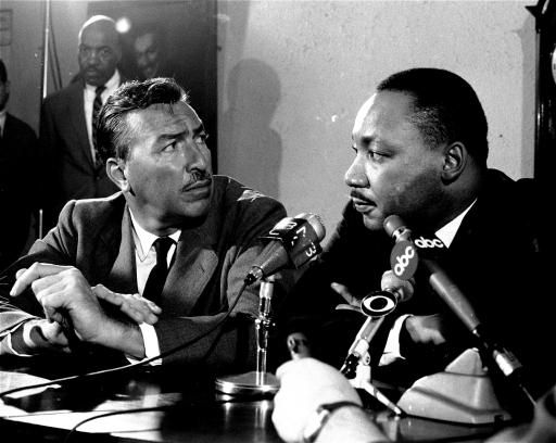 The Rev. Dr. Martin Luther King, Jr., right, and Rep. Adam Clayton Powell, are shown at a news conference at the Abyssinian Baptist Church in New York
