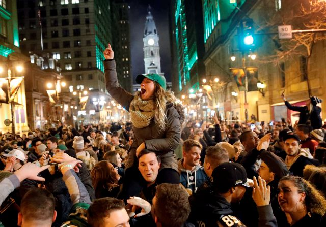 Philadelphia Eagles fans celebrate the team