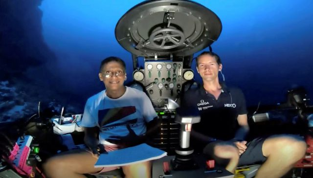 An image taken from video issued by Nekton shows Seychelles President Danny Faure, left, smiling after speaking from inside a submersible from the vessel Ocean Zephyr, under the water off the coast of Desroches, in the outer islands of Seychelles Sunday April 14, 2019. Faure toured the vessel and was presented with some of the findings and observations made by a British-led science expedition documenting changes taking place beneath the waves that could affect billions of people in the...