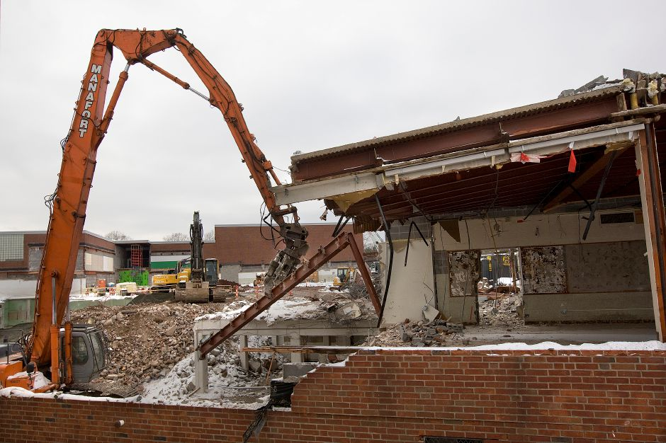 Crews continue demolition of the old classroom wing at Maloney High School, Tuesday, February 9, 2016. | Dave Zajac / Record-Journal