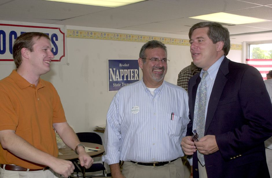 "State Senator candidate Chris Murphy, left, and Bruce ""Zeke"" Zalaski, center, share some laughs with candidate Bill Curry."