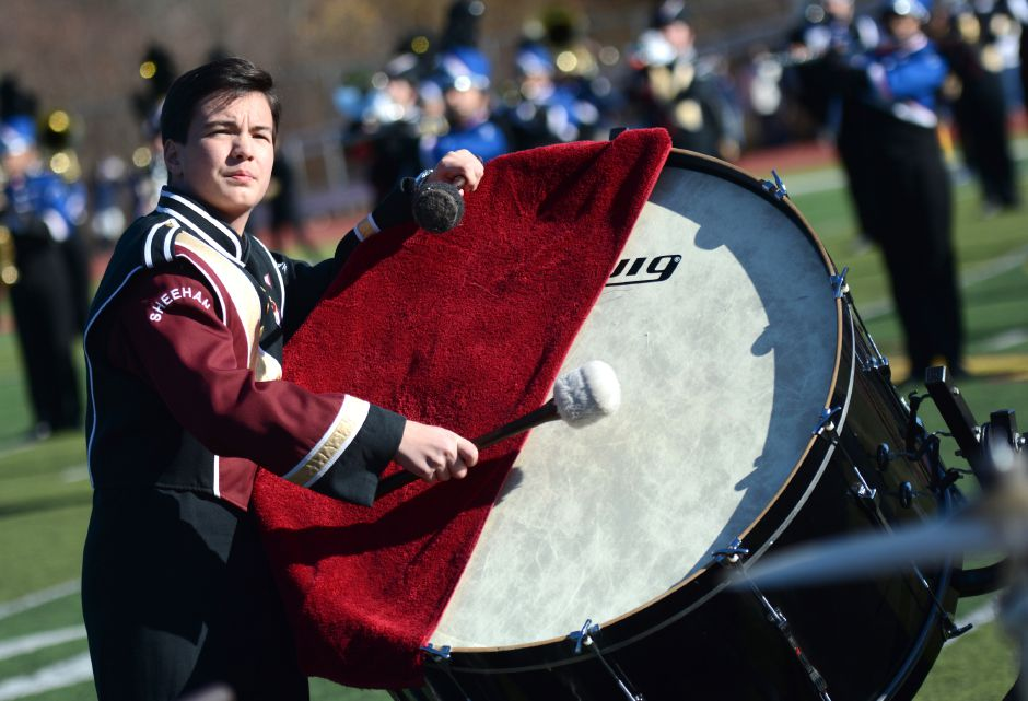 A member of the Sheehan band at the annual Sheehan-Lyman Hall Thanksgiving Day football game on Thursday, Nov. 23, 2017. The Titans defeated the Trojans, 49-20. | Bryan Lipiner, Record-Journal