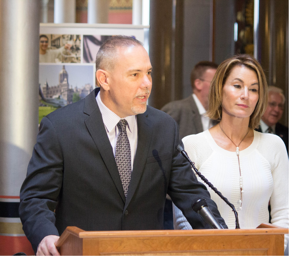 "FILE PHOTO -- House Majority Leader Joe Aresimowicz (D – Berlin/Southington) and House Republican Leader Themis Klarides (R – Derby) hosted ""Manufacturing Day at the Capitol"" to celebrate the progress Connecticut is making in its efforts to grow manufacturing jobs in Connecticut."
