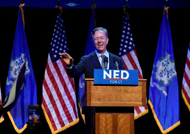 Connecticut gubernatorial candidate Ned Lamont celebrates after defeating Joe Ganim in the Democratic primary in New Haven, Conn., Tuesday, Aug. 14, 2018. (AP Photo/Jessica Hill)
