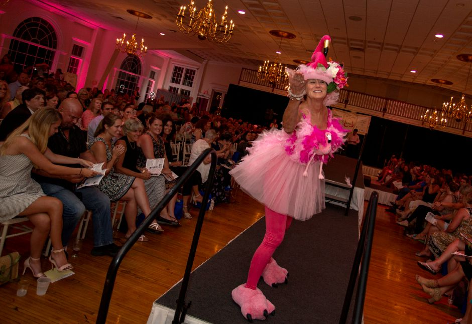 "The flamingo-themed bra ""The Balancing Act"" fetched more than 1,000 during the Art Bra 2018 Runway Show and Auction Aug. 9, 2018 at the Aqua Turf in Southington. 