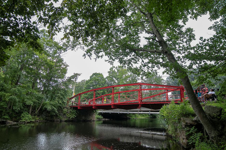 Red Bridge over the Quinnipiac River in Meriden, Tuesday, August 7, 2018. Dave Zajac, Record-Journal