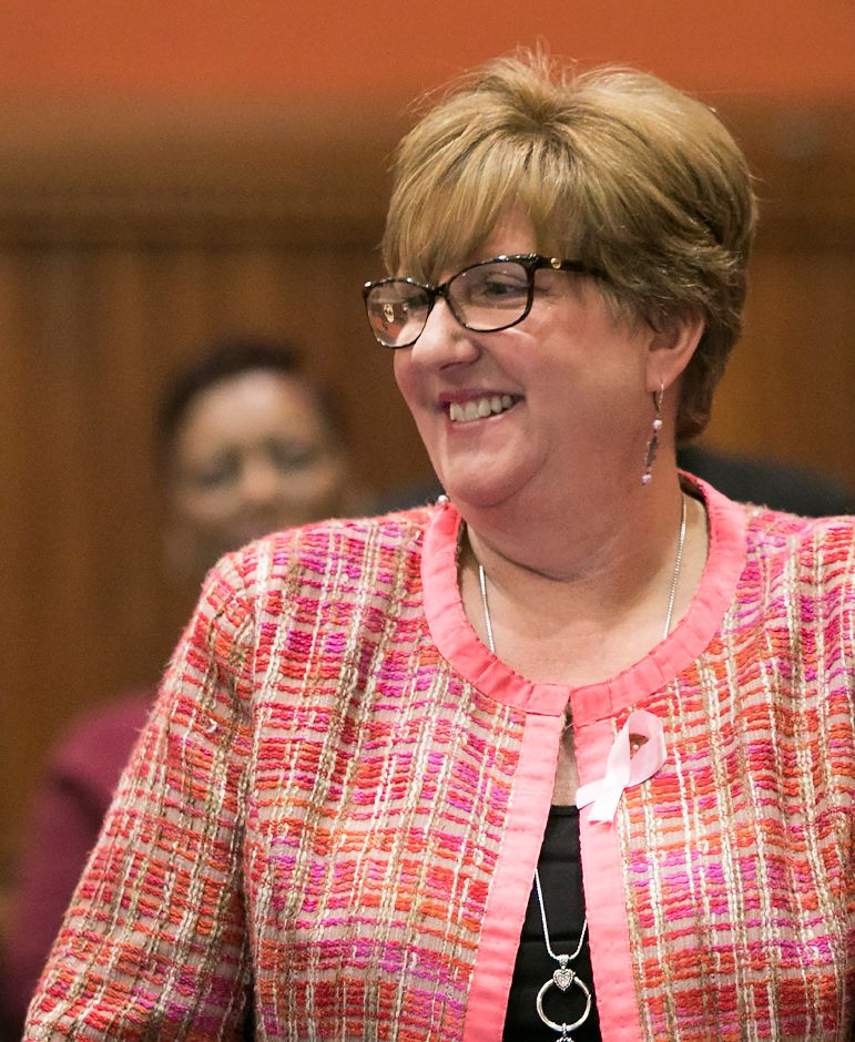 Rep. Cathy Abercrombie, D-Meriden, smiles during opening day of the 2018 legislative session in Hartford, Wednesday, Feb. 7, 2018. Dave Zajac, Record-Journal