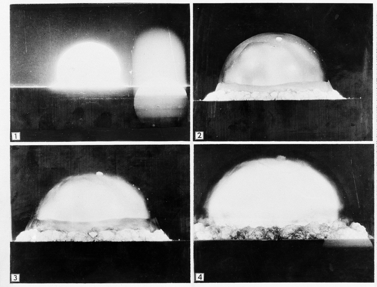 In this sequence of photos provided by the U.S. Army, mushroom cloud is recorded by an Army automatic motion picture camera six miles away as the first atomic bomb test was conducted at Alamogordo, N.M., July 16, 1945. (AP Photo/U.S. Army)