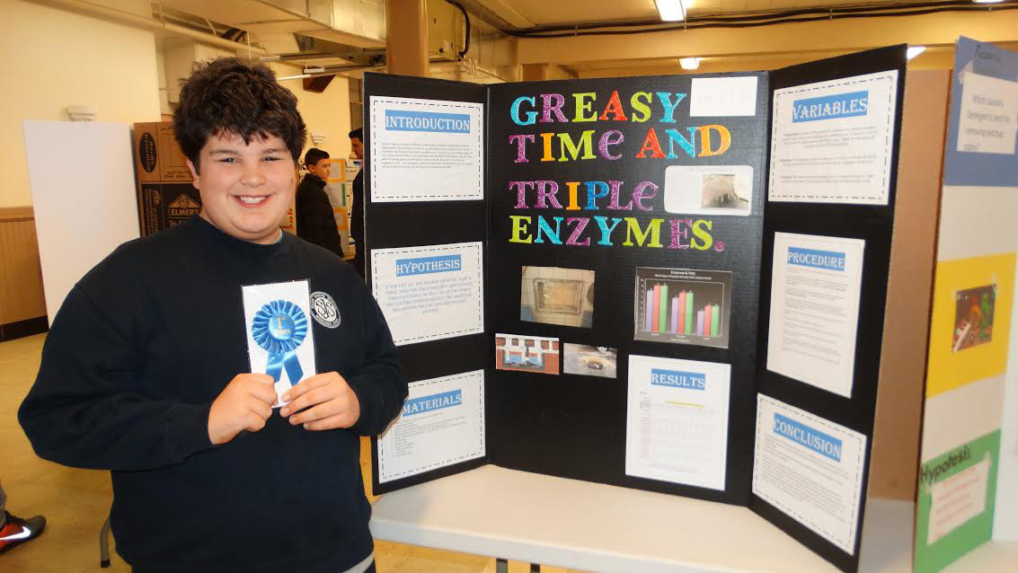 Jake Ryder wins first prize for analyzing what destroys grease the fastest.