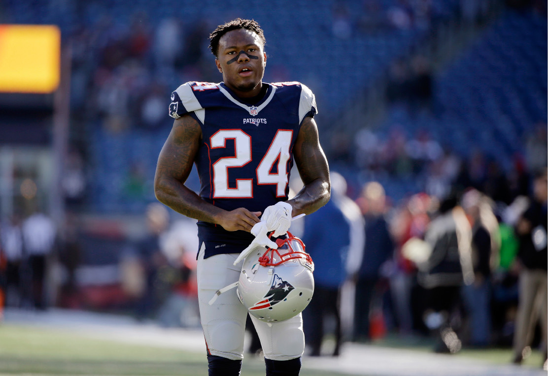 Right: Patriots' cornerback Cyrus Jones, a rookie out of Alabama, has struggled to hang on to the ball during kick returns. Monday night against Baltimore, he had his fifth fumble of the season in the second half, setting up the Ravens' first touchdown. | Associated Press
