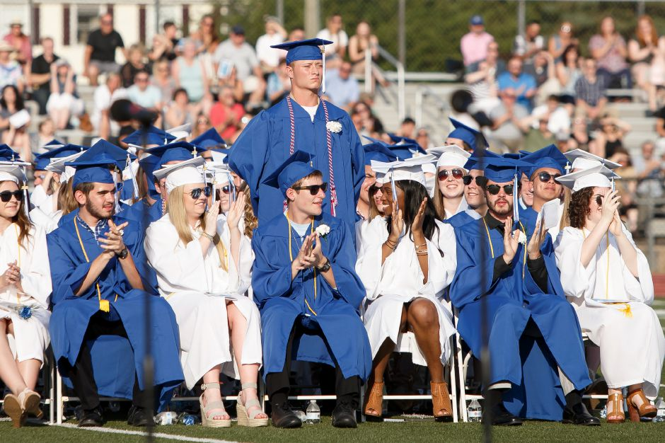 Private Timothy Michael Alcutt stands as Veterans are recognized Thursday during Southington High School Graduation ceremonies at Southington High School in Southington June 21, 2018 | Justin Weekes / Special to the Record-Journal