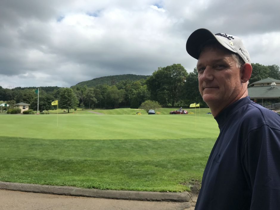 Chuck Stupakevich of Wallingford holds a commanding 7-stroke lead at the Meriden Open after shooting  a 4-under-par 67 in the first round Saturday at Hunter Golf Club. Stupakevich is the defending champion. | Bryant Carpenter / Record-Journal