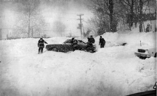 File photo - Meriden Firefighters help a motorist stuck in the snow during the 1978 blizzard.