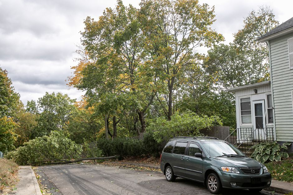 A fallen tree blocks Fairmount Street in Meriden, Thurs., Oct. 17, 2019. The downed tree was reported just after noon during a high wind advisory. Dave Zajac, Record-Journal