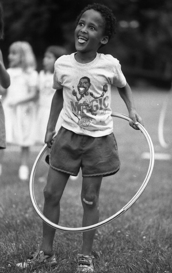 RJ file photo - Jason Rogers, 7, is exhausted trying to master the hula hoop at a 1950s night concert in Doolittle Park July 13, 1989.