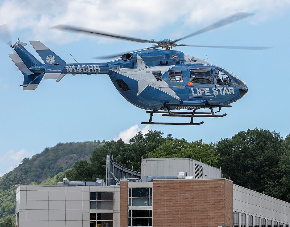 Life Star helicopter lifts off from Midstate Medical Center, Thursday, August 30, 2018. Dave Zajac, Record-Journal
