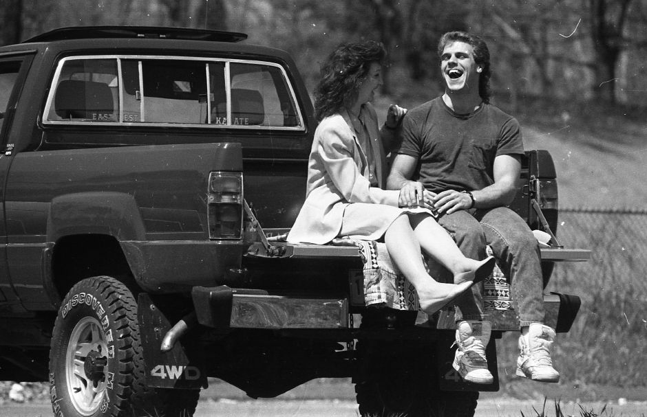 RJ file photo - Rita Riccitelli and George Wright enjoy some private moments alone on the back of his pickup truck at Community Lake April 17, 1989. The two were on their lunch hours from their jobs.