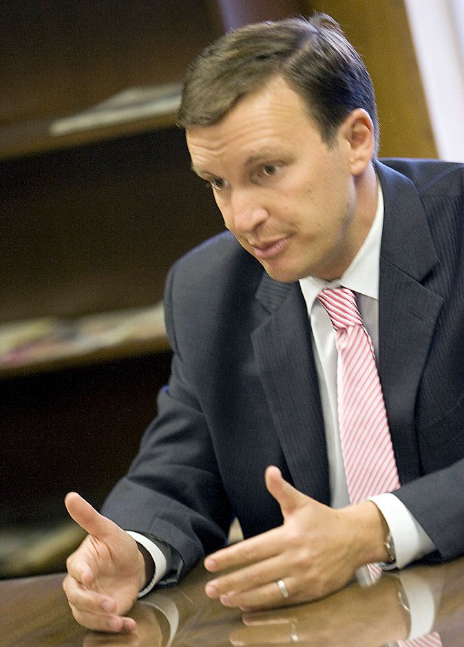 Chris Murphy talks to the Editorial Board at the Record Journal in Meriden September 27, 2010. (Dave Zajac/Record-Journal)