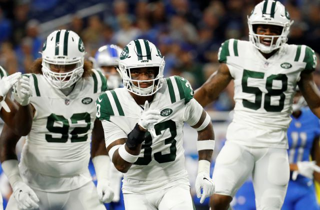 New York Jets defensive back Jamal Adams (33) celebrates a stop against the Detroit Lions in the first half of an NFL football game in Detroit, Monday, Sept. 10, 2018. (AP Photo/Rick Osentoski)