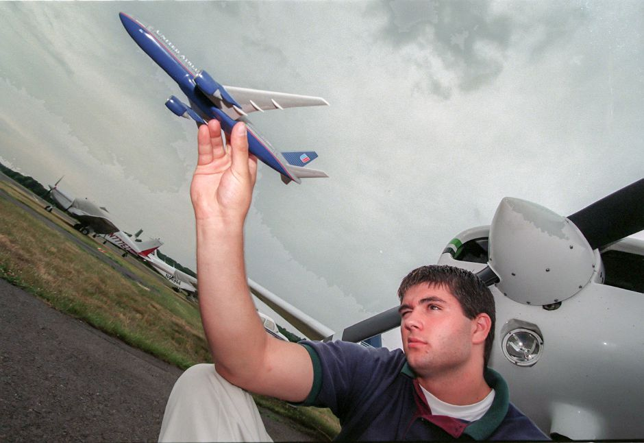 Edward A. Gormely is a Platt High School student who is interested in getting his pilots license at the Meriden Airport, July 1999.
