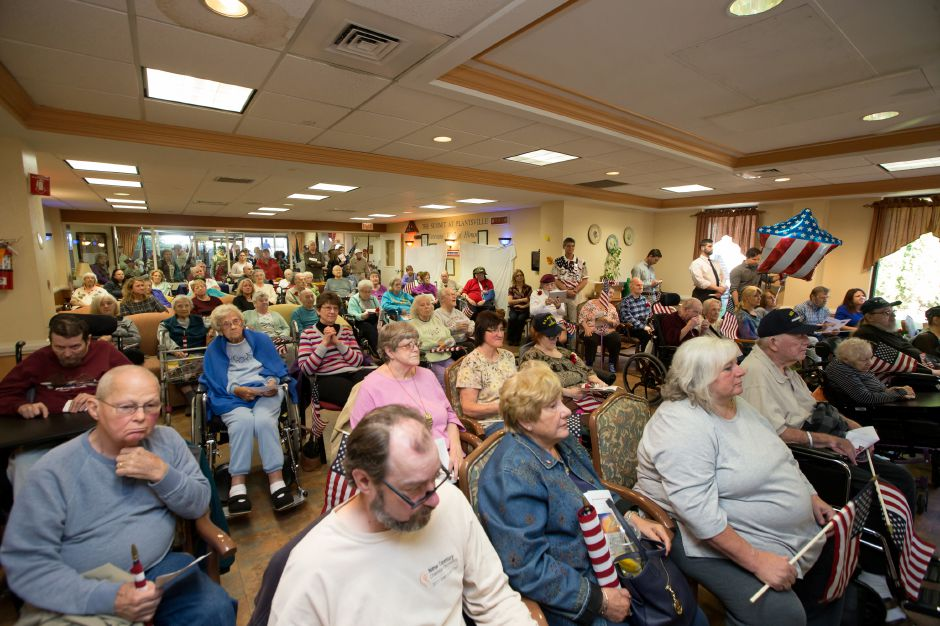 A crowd filled the meeting room Friday for Quilts of Valor presentation ceremony at The Summit at Plantsville in Plantsville October 27, 2017 | Justin Weekes / For the Record-Journal