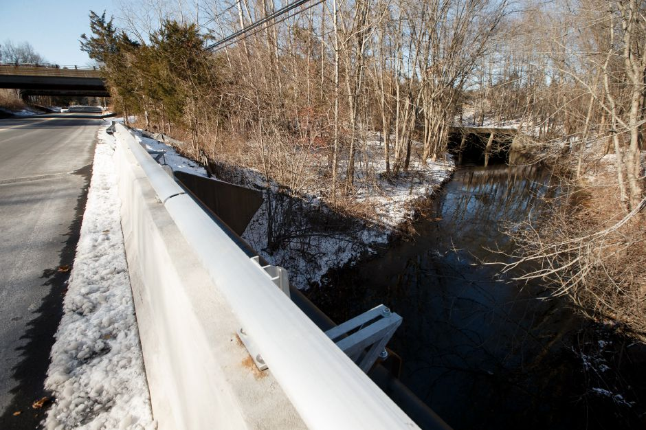 A view of Eightmile River culvert under I84 from the West Center Street Bridge where construction has been completed. Wednesday in Southington December 27, 2017 | Justin Weekes / For the Record-Journal