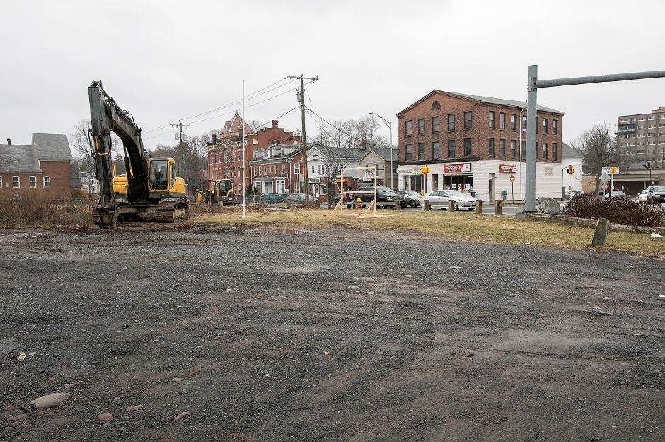 Construction equipment on the site of a future auto parts store at the corner of East Main Street and Broad Street in Meriden, Friday, Feb. 23, 2018. Dave Zajac, Record-Journal