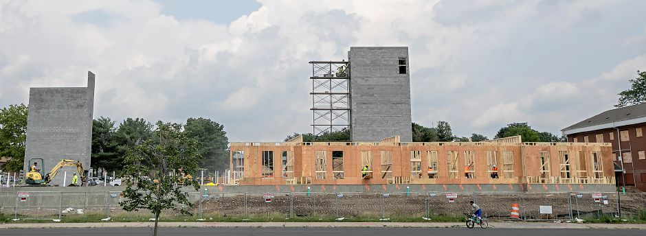 Work continues on the Meriden Commons at the corner of State Street and Mill Street in Meriden, Wednesday, July 12, 2017. | Dave Zajac, Record-Journal