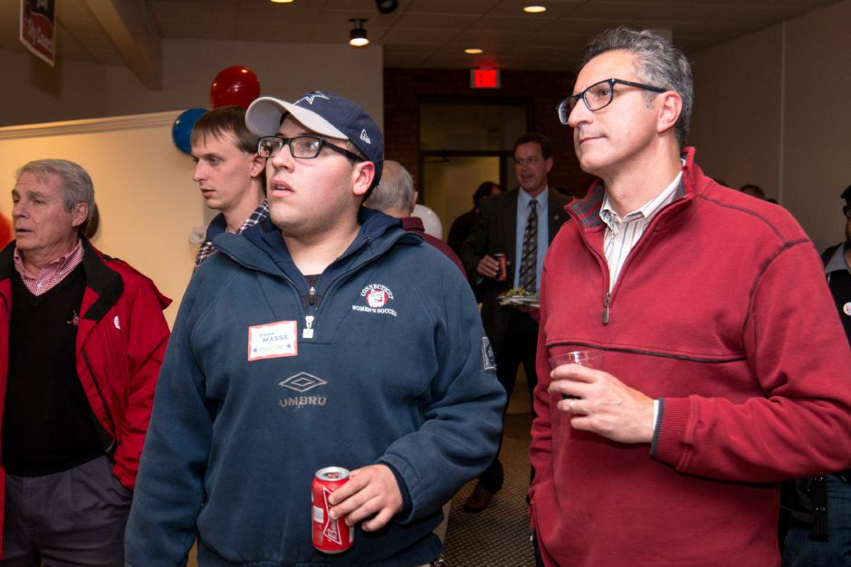 Manny Santos, right, the Republican candidate for one of Meriden