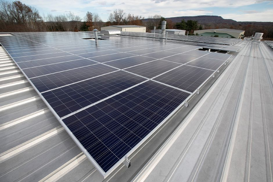 Solar panels on the roof of Sign Pro in Southington, Wed., Nov. 14, 2018. The nearly 900 solar panels are designed to totally power the building with energy to spare. Dave Zajac, Record-Journal
