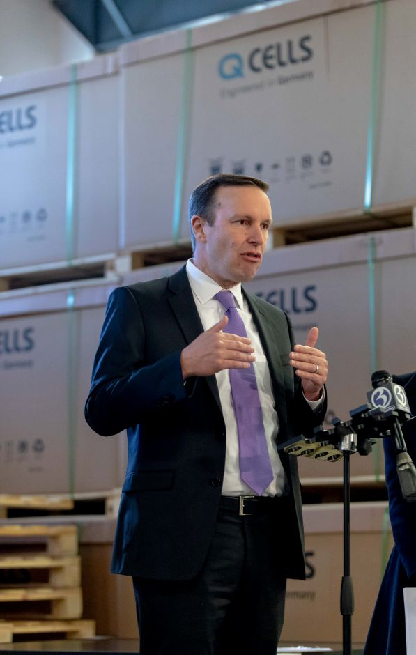 Democratic Senator Chris Murphy speaks during a tour of Trinity Solar in Cheshire. Joined by Democratic Lt. Gov. candidate Susan Bysiewicz and gubernatorial candidate Ned Lamont, he toured the company and spoke about the importance of clean energy on Oct. 25, 2018. | Devin Leith-Yessian/Record-Journal