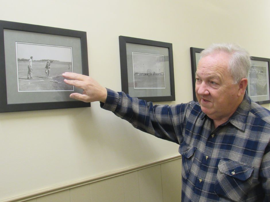 Former Pratt & Whitney employee Bill Richards explains where the baseball fields at the plant site were located in the 1950s on Wednesday.