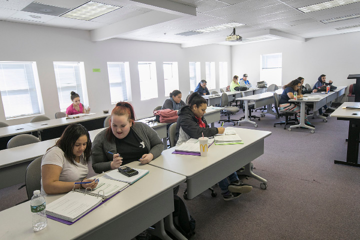 Students work in a math class at Middlesex Community College in Meriden, Monday, March 6, 2017. | Dave Zajac, Record-Journal